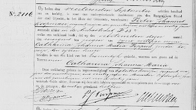 Birth certificate of Catharina Johanna Maria Koopman