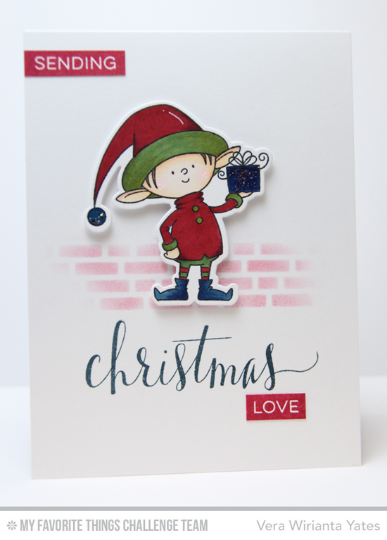 Christmas Love Card by Vera Wirianta Yates featuring the Birdie Brown Santa's Elves stamp set and Die-namics, the Hand Lettered Holiday stamp set, and the Small Brick Wall stencil #mftstamps