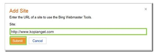 add-site bing webmaster tools