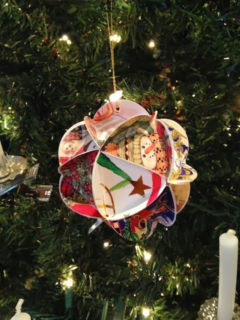recycled Christmas card folded ornament
