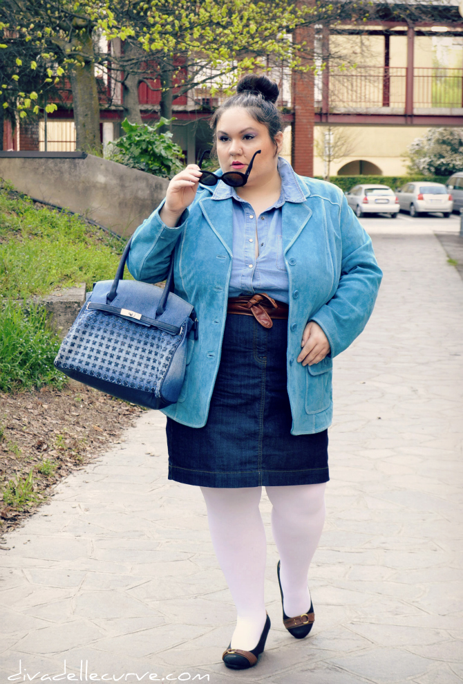 Outfit plus size - I love denim
