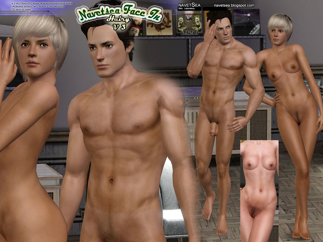 The sims 3 nude female skins porno gallery
