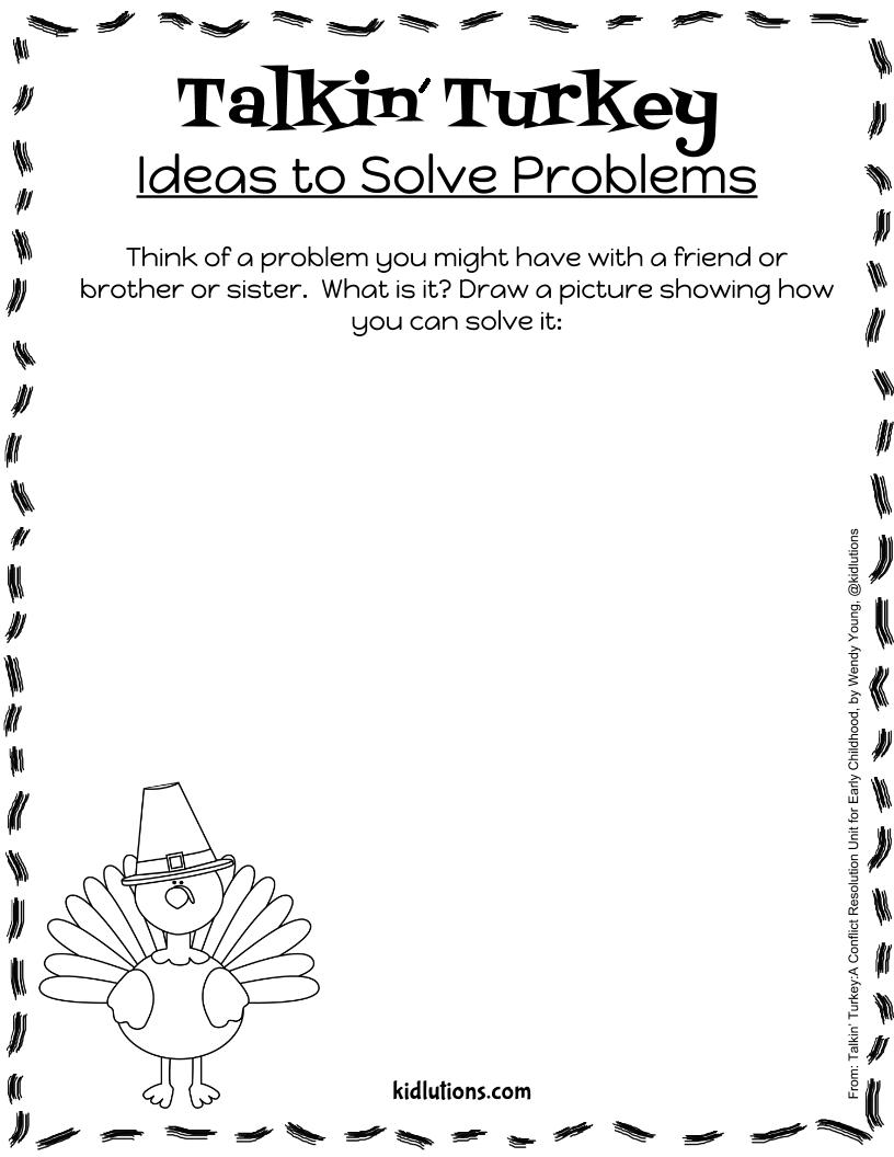 Problem Solving Printable Talkin Turkey – Conflict Resolution Worksheets for Kids
