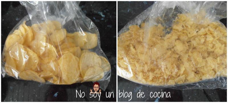Tortilla de patatas chips y alcachofas