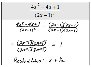 how to find restrictions on rational expressions