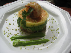 Pure Trufado com Bacalhau Salteado, Maionese de Brócolis e Camarão Grelhado