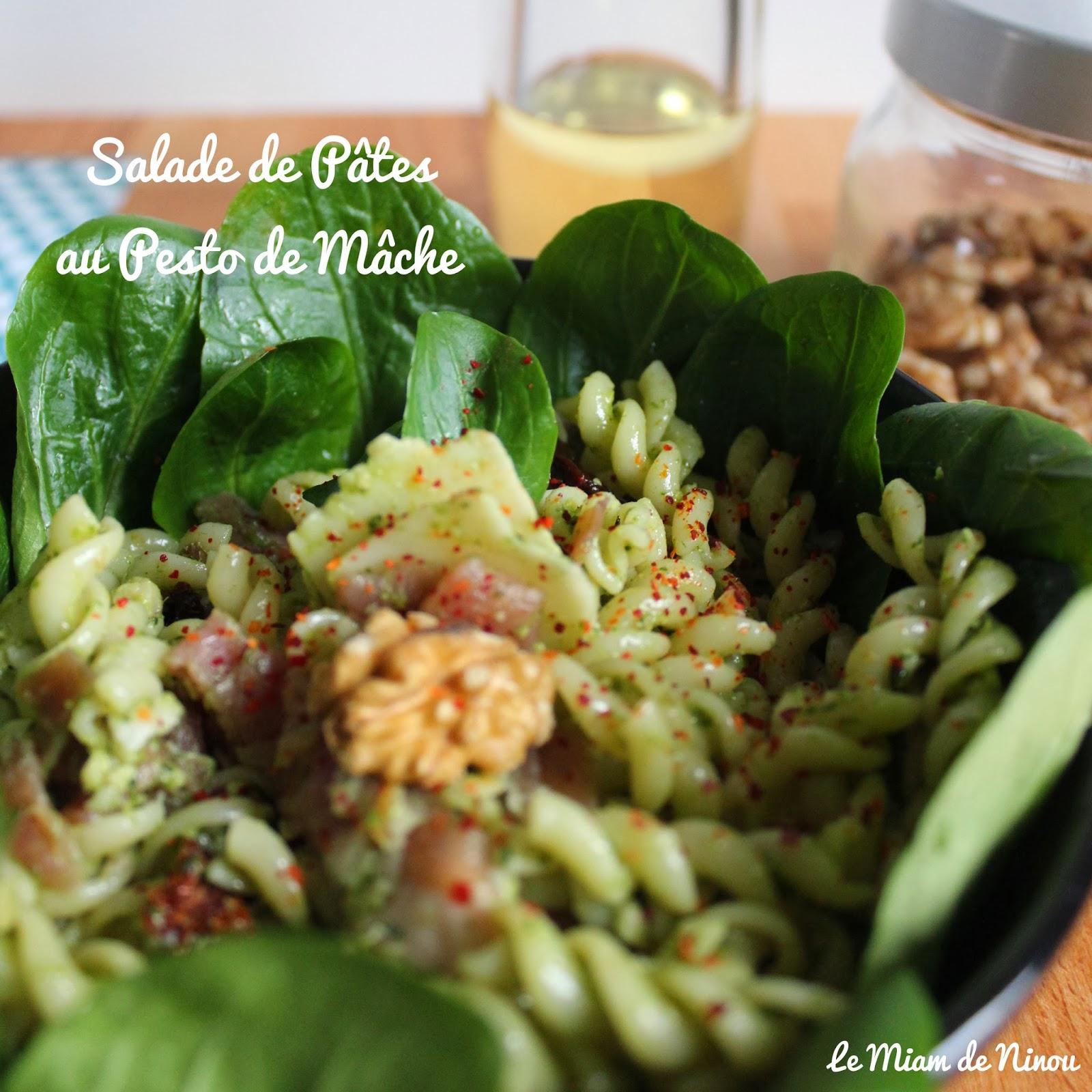 Comme une envie de ...: Salade de Pâtes au Pesto de Mâche - Salade Pates Pesto