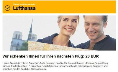 Neuer 20 Euro-Lufthansa-Gutschein