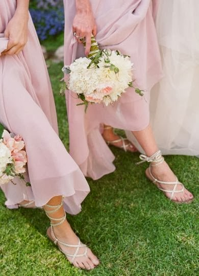 Bridesmaids In Pink With Flat Sandals