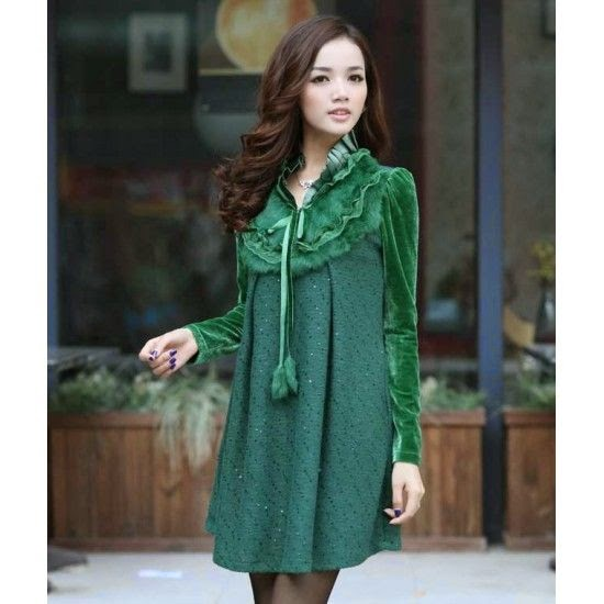 Elegant Long Sleeve Dress Fur Collar YRB0450
