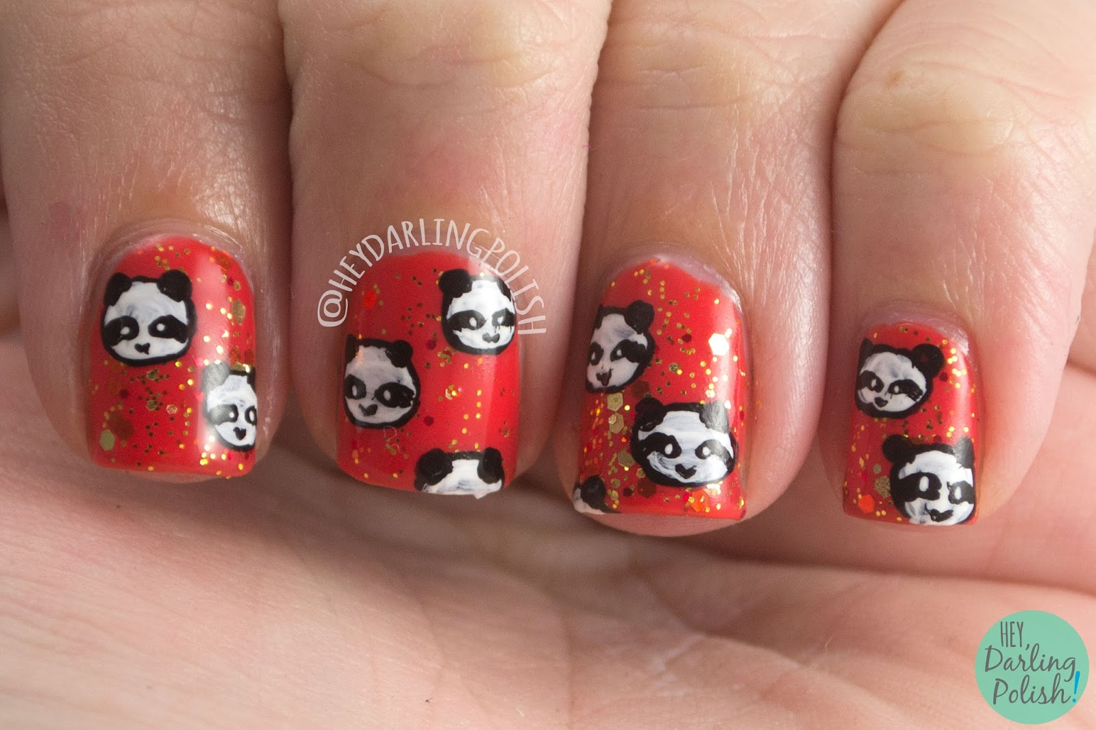 nails, nail art, nail polish, pandas, panda, orange, glitter, hey darling polish, naillinkup, nail art ideas linkup