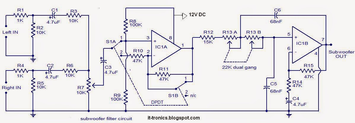 subwoofer filter circuit low enthusiast wiring diagrams u2022 rh rasalibre co Mixer From DJ Powered Subwoofer Diagram Active Subwoofer Circuit Diagram