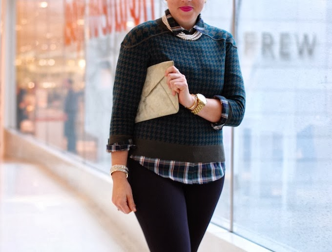 Forest green J.Crew sweater and Forever 21 flannel