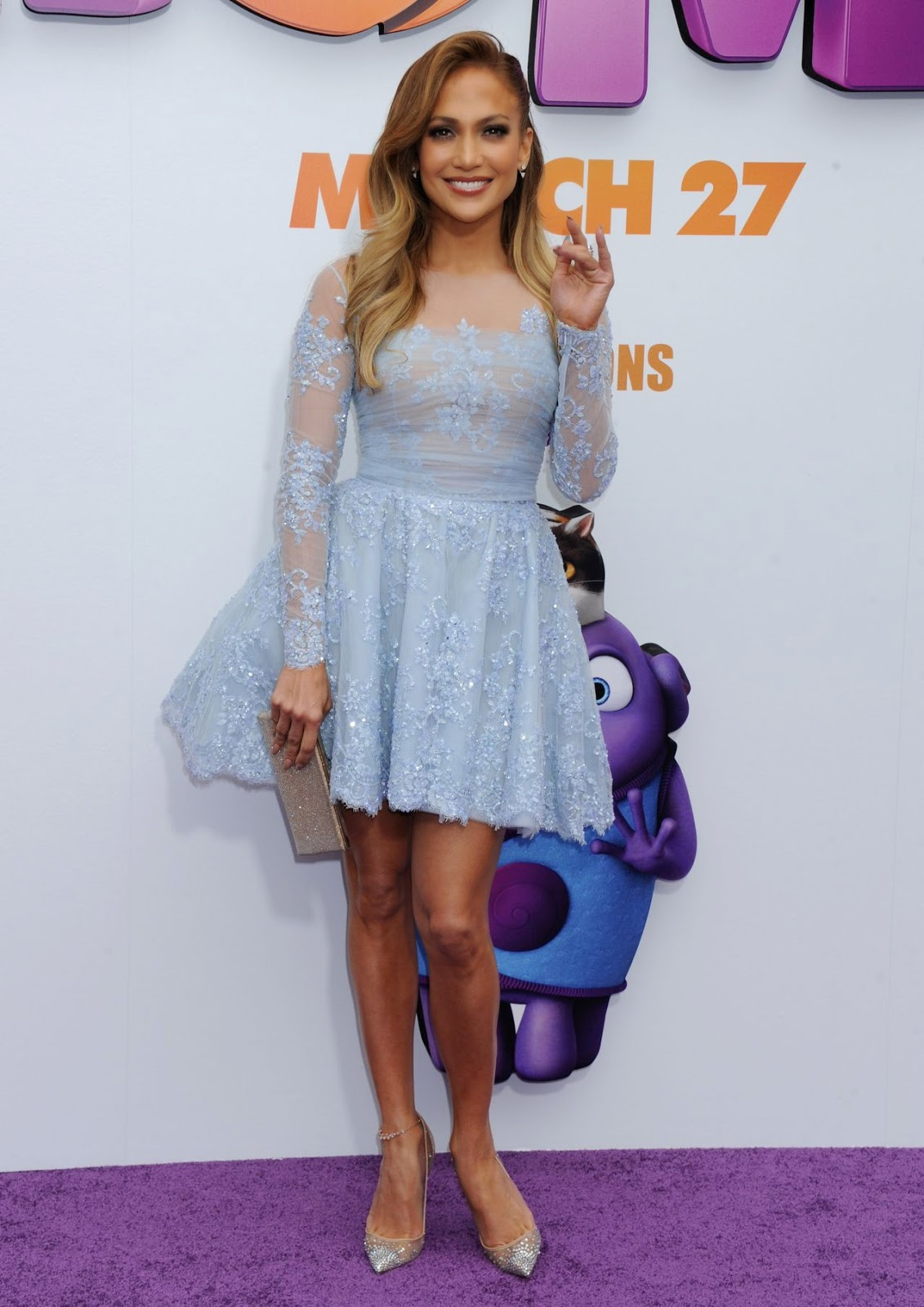 Jennifer Lopez in a Zuhair Murad dress at the 'Home' premiere in Westwood