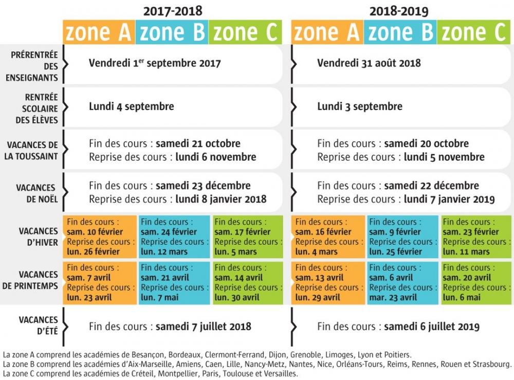 calendrier 2018-2019