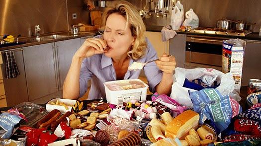 Skinny woman table of food