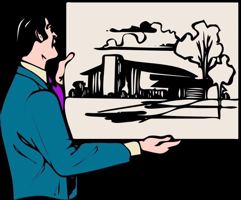 arkkitehti esittelee talon kuvaa