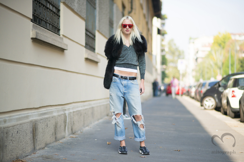 Love Magazine Senior Editor Phoebe Arnold at Milan Fashion Week 2015 Spring Summer MFW