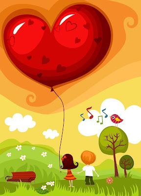 ilustración de amor con pareja de enamorados y globo en forma de corazón