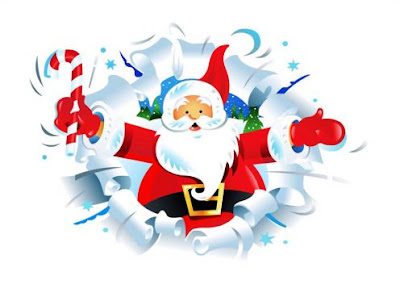 Picture greeting card of Xmas Santa Claus