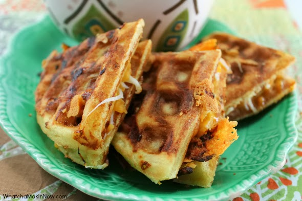 Make an extra tasty grilled cheese sandwiches with 3 cheese waffles! Then, dip in tomato soup. Perfect fall meal!