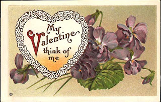 antique embossed valentine postcard post card with heart and pansy