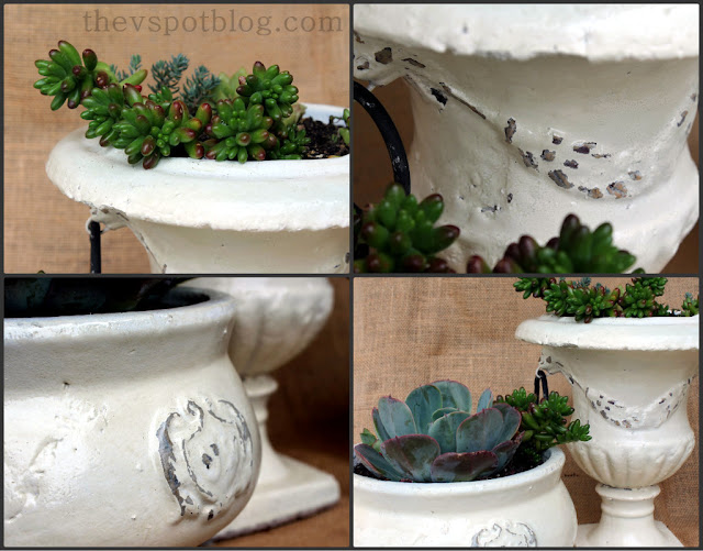 DIY painted pottery for a shabby chic weathered look.