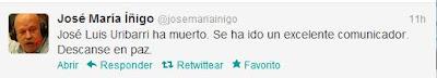 José María Íñigo trasladó sus condolencias vía Twitter