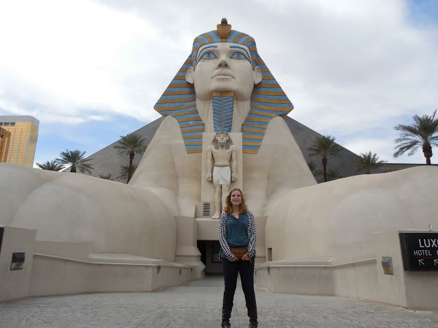 in front of the fake sphinx