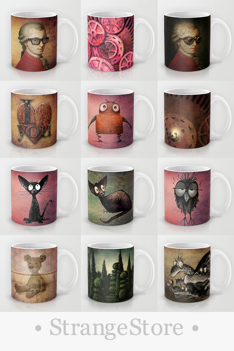 paul stickland, strangestore, mugs, cats, owls, steampunk+mugs