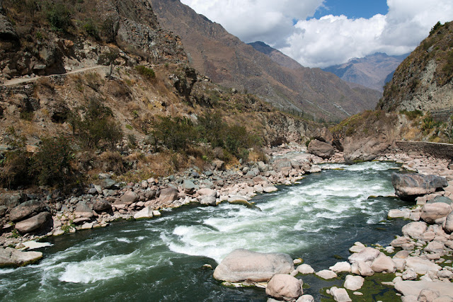 A photograph of the Urubamba River taken on Day 1 of the Inca Trail in Peru