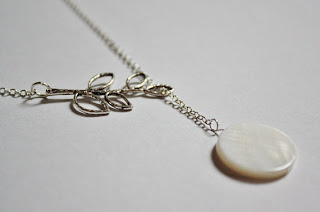 Silver Leaf and Mother of Pearl Lariat Necklace handmade by AngelFishDesign on etsy