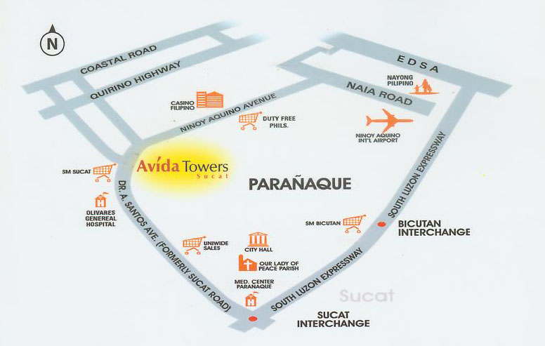 Avida Towers Sucat Location Map