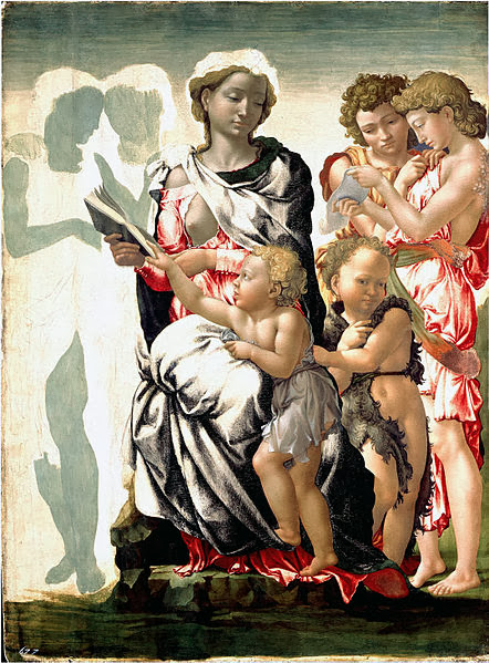 "Painting ""Madonna and Child with St. John and Angels"" Unfinished by Michelangelo, 1497"