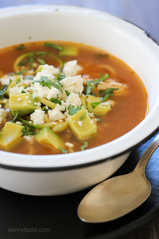 "... Zucchini ""Fideo"" Soup – made low carb using spiralized zucchini"