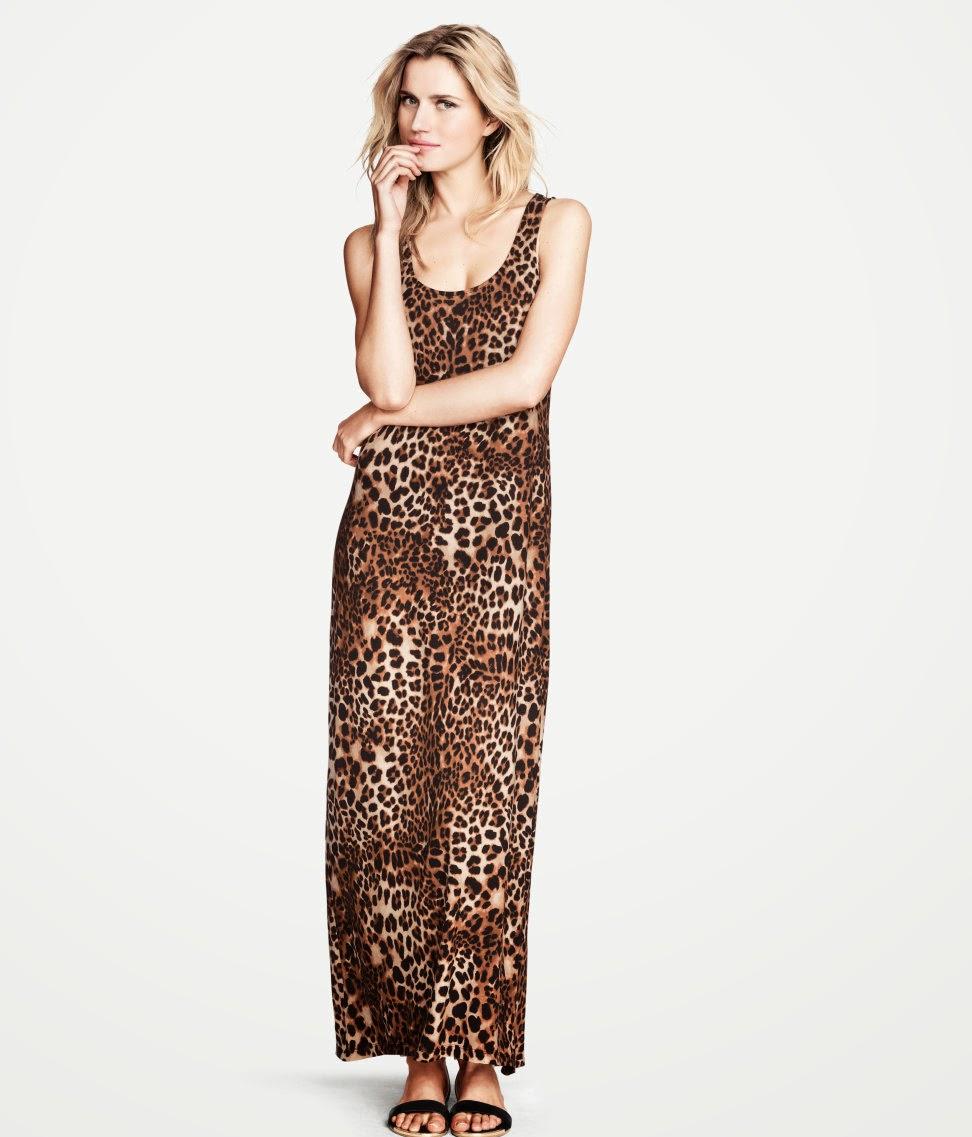 uzun+leopar+elbise H & M 2014 Sommer Kleidung Models