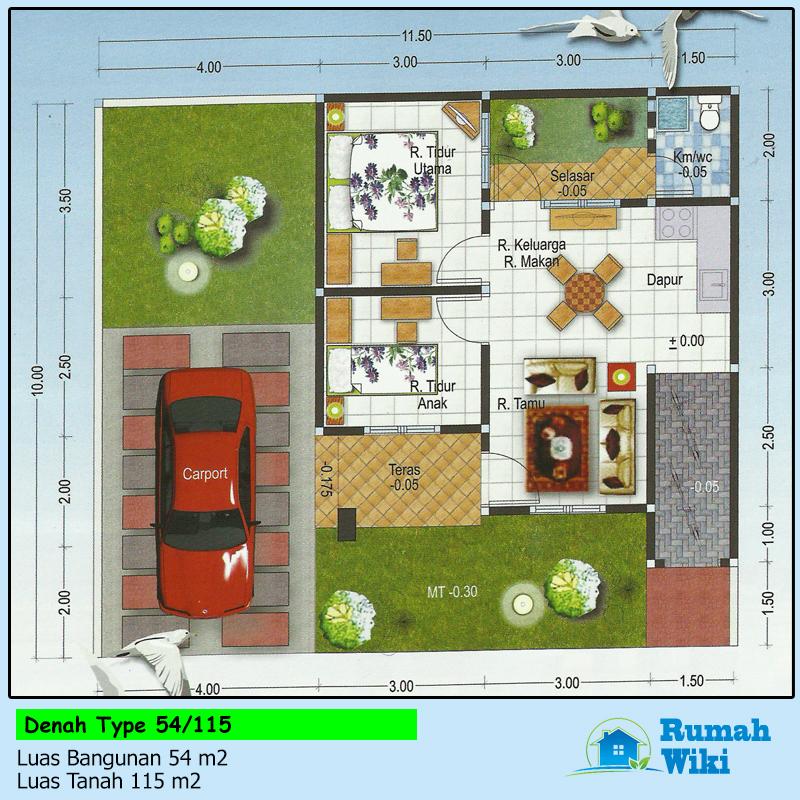 Inspirasi Denah Rumah Minimalis Modern Tipe 54/115 + Desain