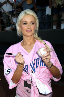 Holly Madison shows off sporty side in a baseball shirt & knee socks.