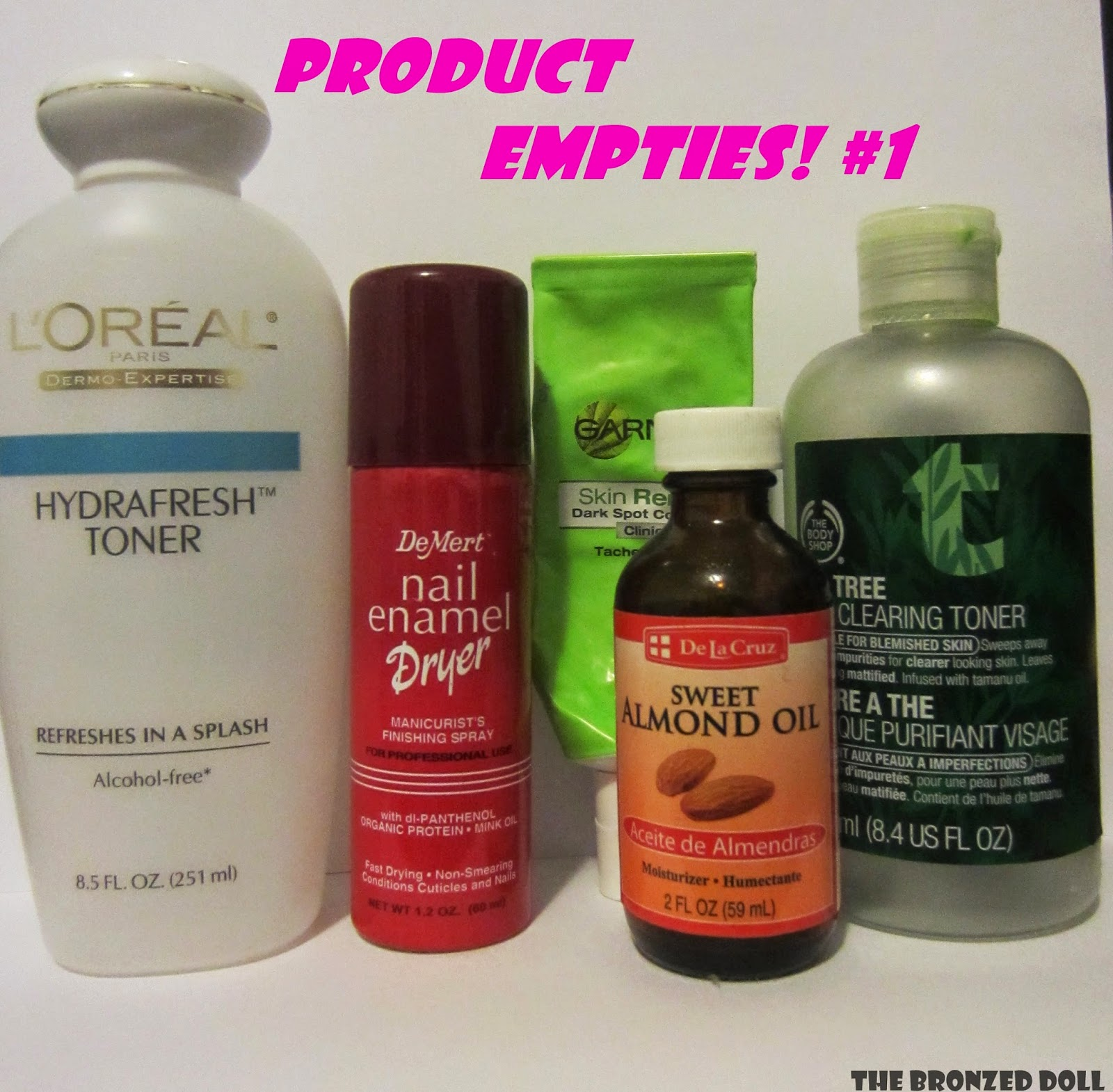 product empties loreal the body shop garnier demert and sweet almond oil
