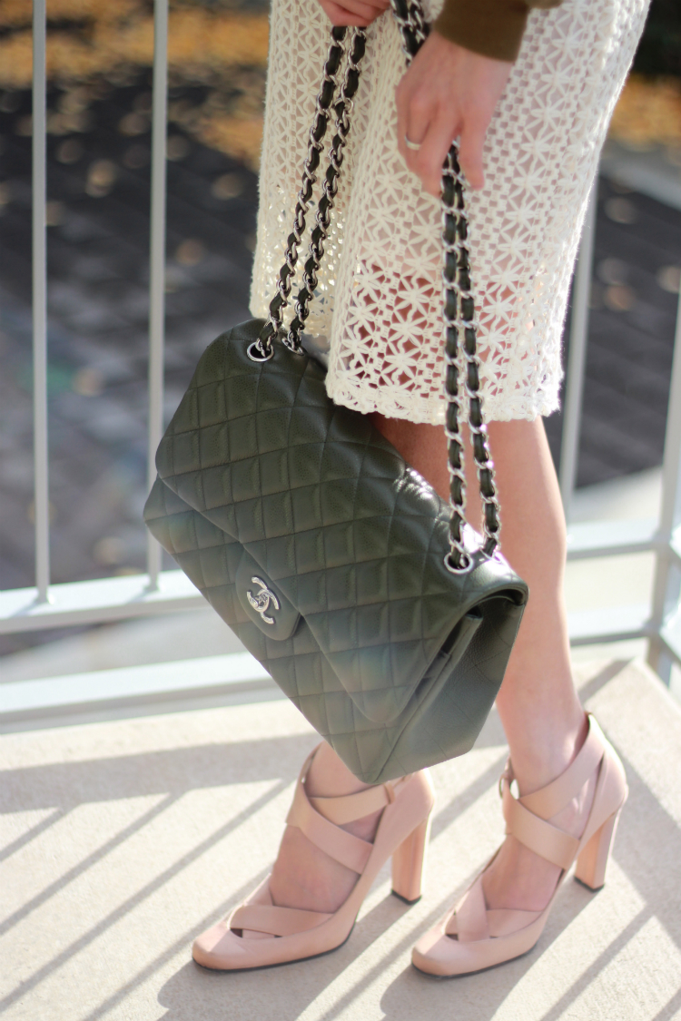 chanel jumbo green olive forest army flap classic