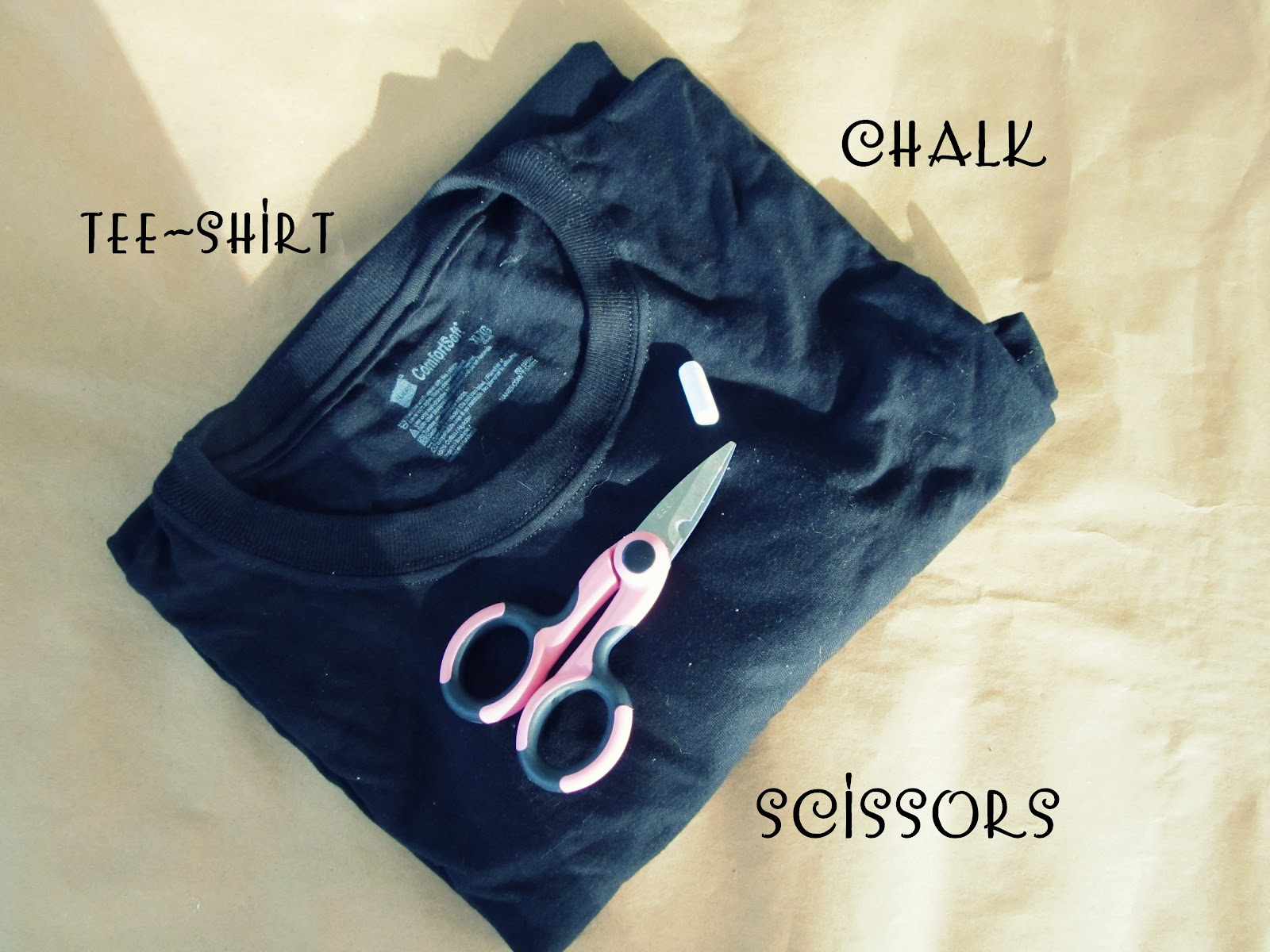 Mens Tee- Shirt* I used a Extra large mens Tee-shirt. Scissors Chalk