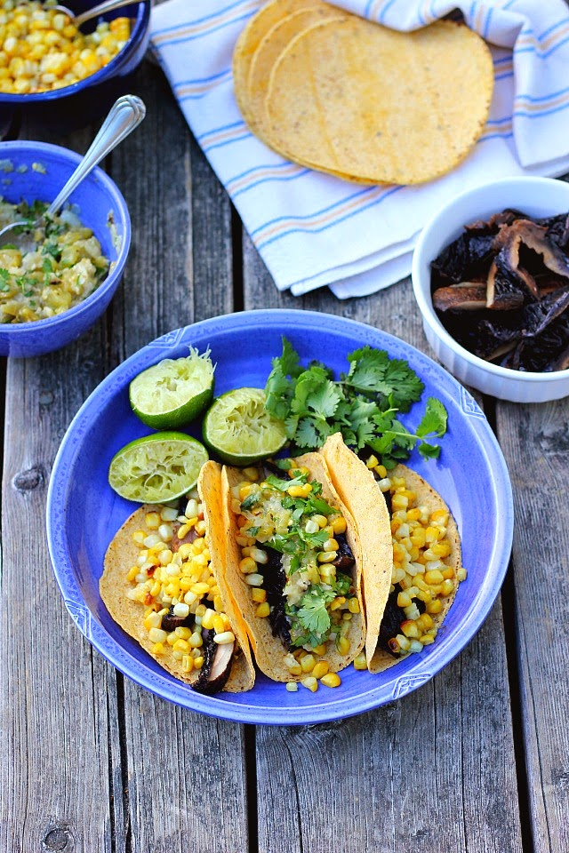 Cumin Grilled Portobello + Charred Corn Tacos with Spicy Green Tomato Salsa Verde ⎮ happy hearted kitchen