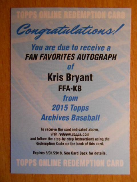 Kris Bryant Arcives Auto