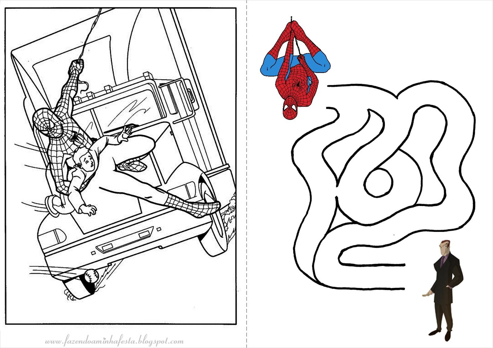 fazendo a minha festa para colorir homem aranha livrinho de