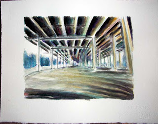 Watercolor, ink, highway, on ramp, underpass, skyway, buffalo, ny, patrick willett, burchfield penney, albright knox