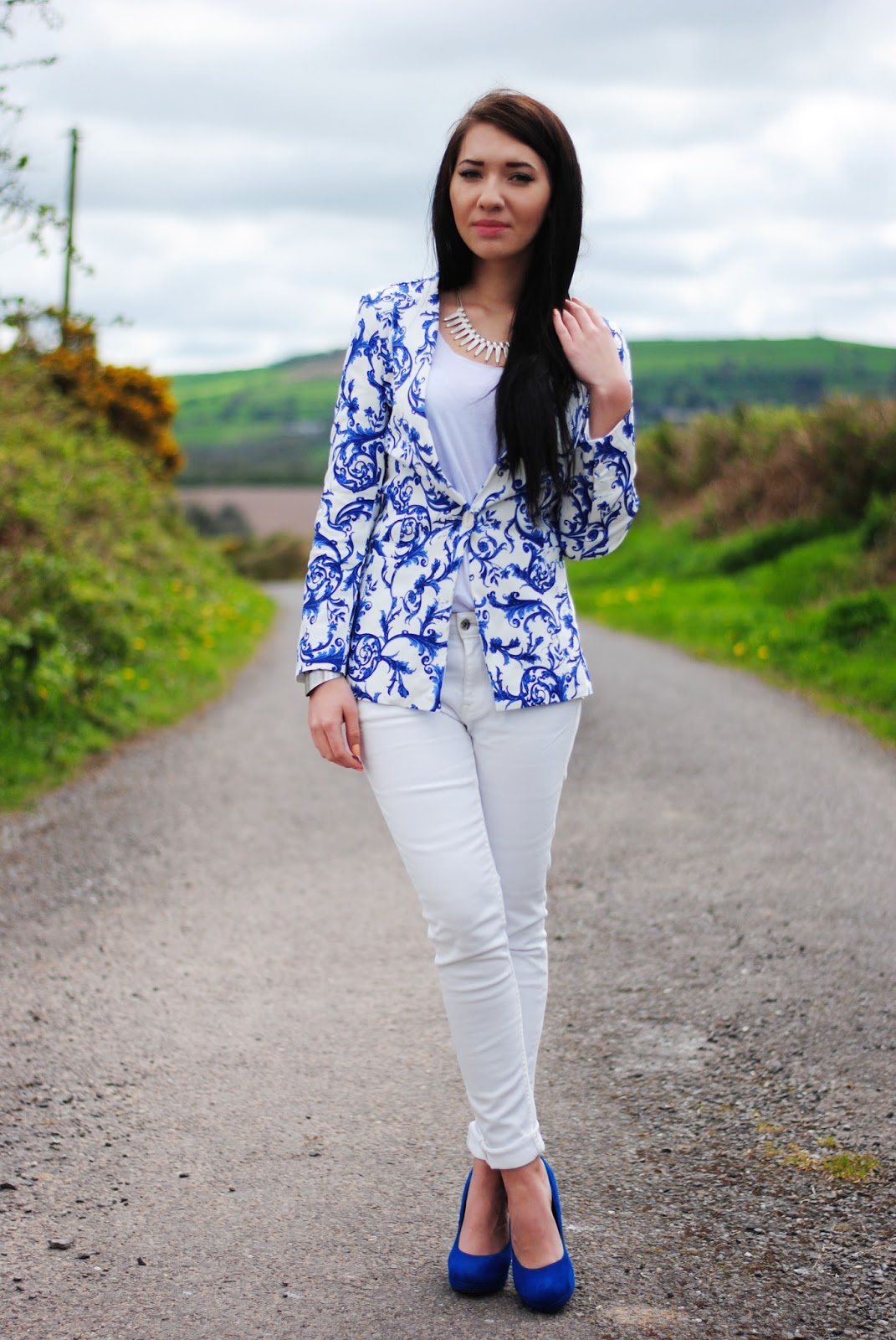 Blue print blazer