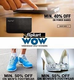 Flipkart Wednesday Sale: Min 50% Off on Men's Footwear | Min 55% Off on Women's Footwear | Min 25% Off Headsets | Min 40% Off on Power Banks | Min 50% Off on Bags Belts & Wallet
