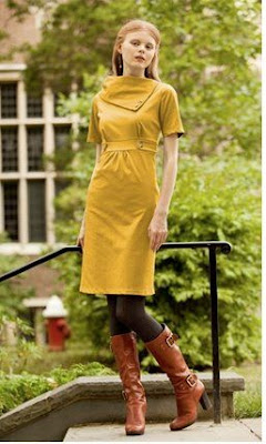 Women's Mustard, Fold Over Collar Dress - Study Break
