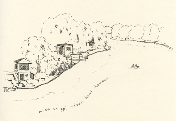 artist journal ink drawing page of Mississippi river boat houses