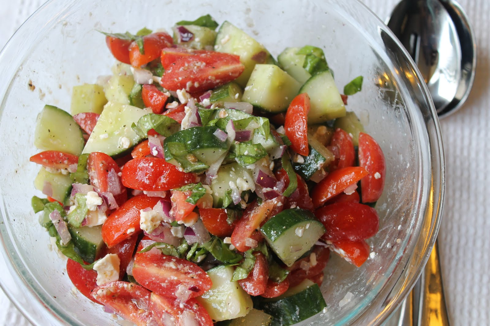 the couture life: cherry tomato, cucumber and feta salad.